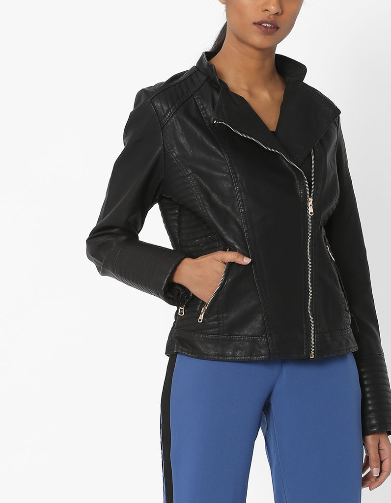 Women Real Lambskin Leather Biker Jacket KW569