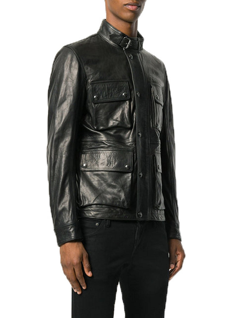 Biker Jacket - Men Real Lambskin Motorcycle Leather Biker Jacket KM369 - Koza Leathers