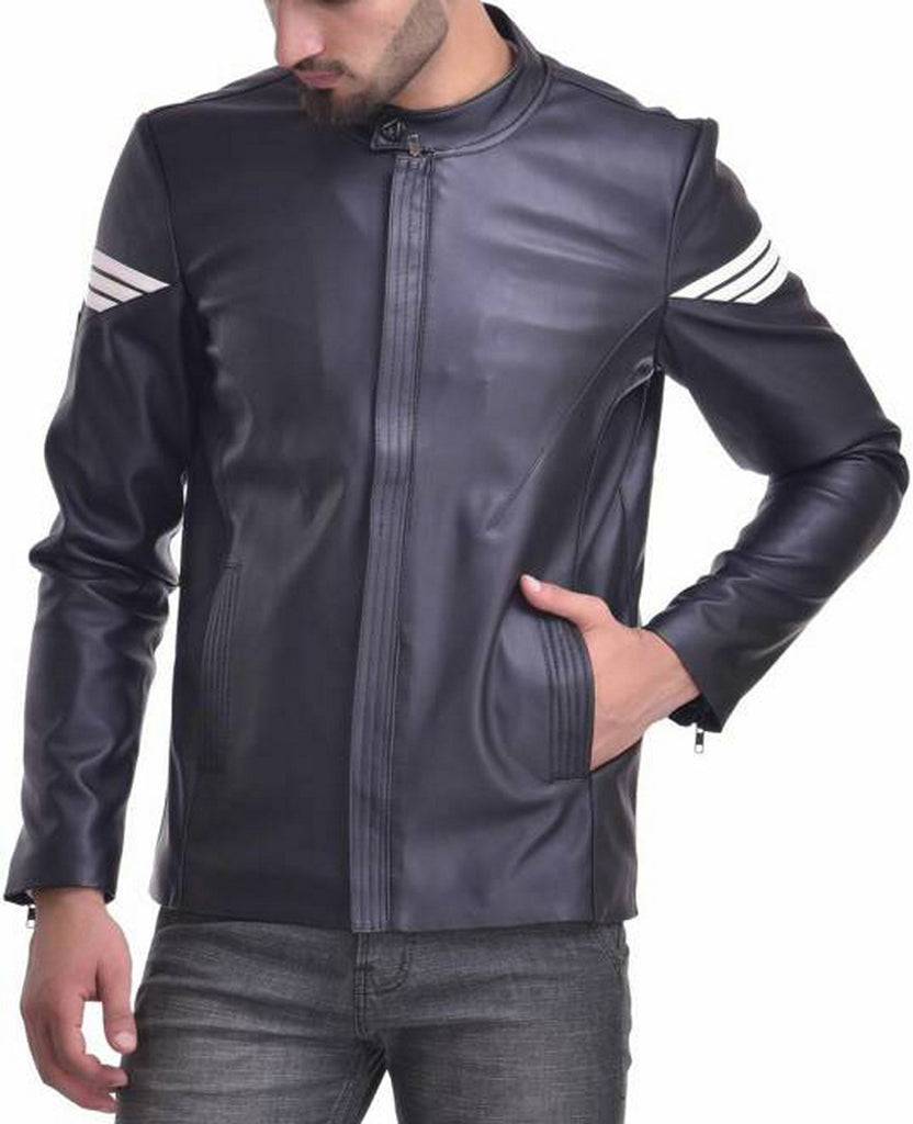 Biker Jacket - Men Real Lambskin Motorcycle Leather Biker Jacket KM545 - Koza Leathers