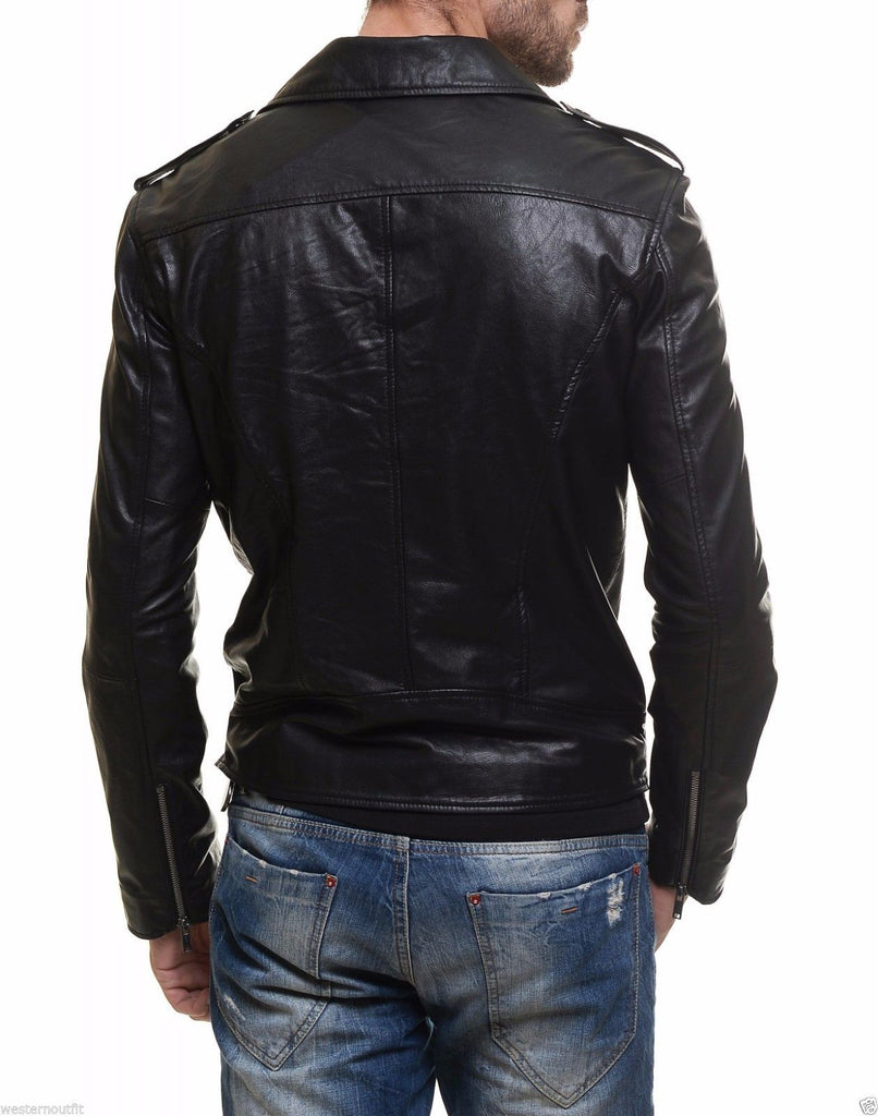 Biker Jacket - Men Real Lambskin Leather Jacket KM011 - Koza Leathers