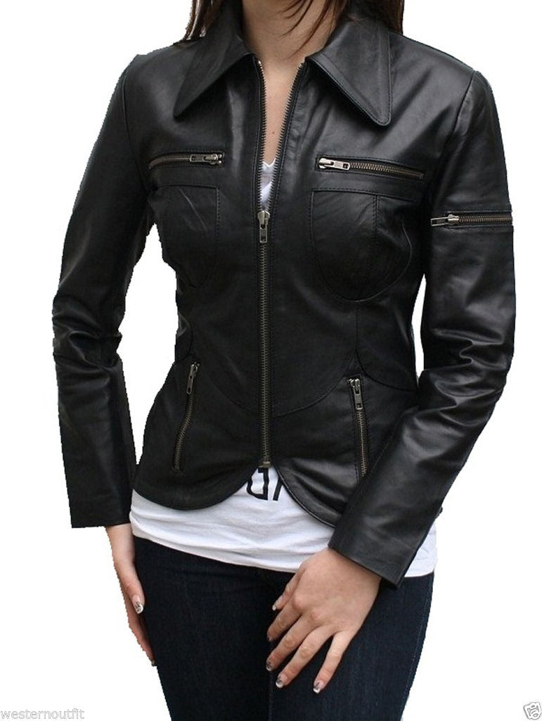 Biker / Motorcycle Jacket - Women Real Lambskin Leather Biker Jacket KW024 - Koza Leathers