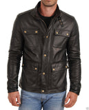 Biker Jacket - Men Real Lambskin Leather Jacket KM017 - Koza Leathers