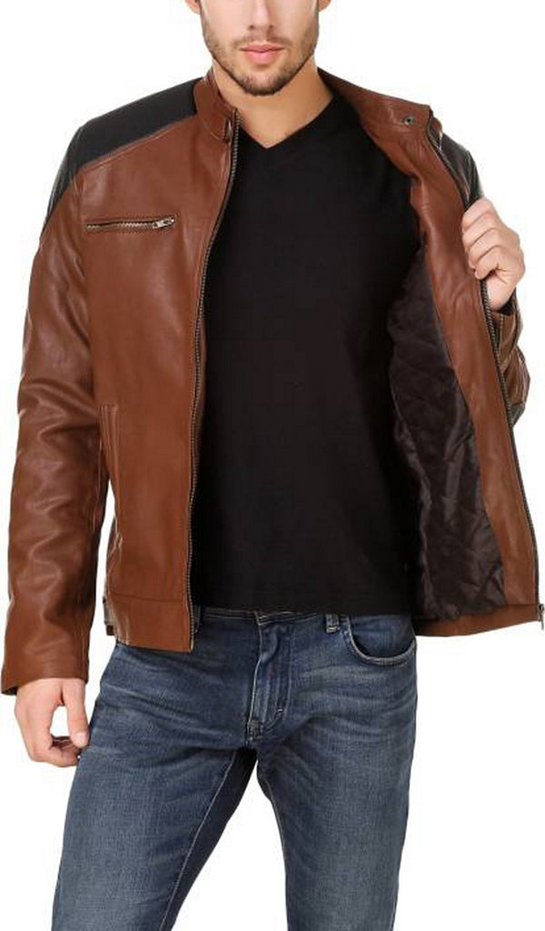 Biker Jacket - Men Real Lambskin Motorcycle Leather Biker Jacket KM552 - Koza Leathers