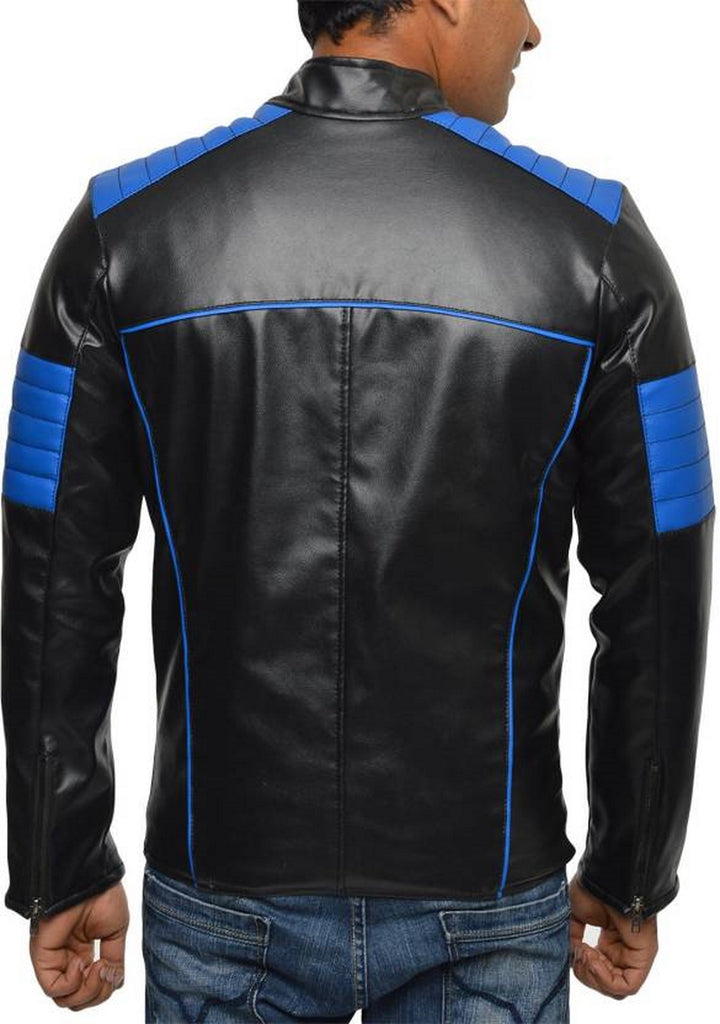 Biker Jacket - Men Real Lambskin Motorcycle Leather Biker Jacket KM553 - Koza Leathers