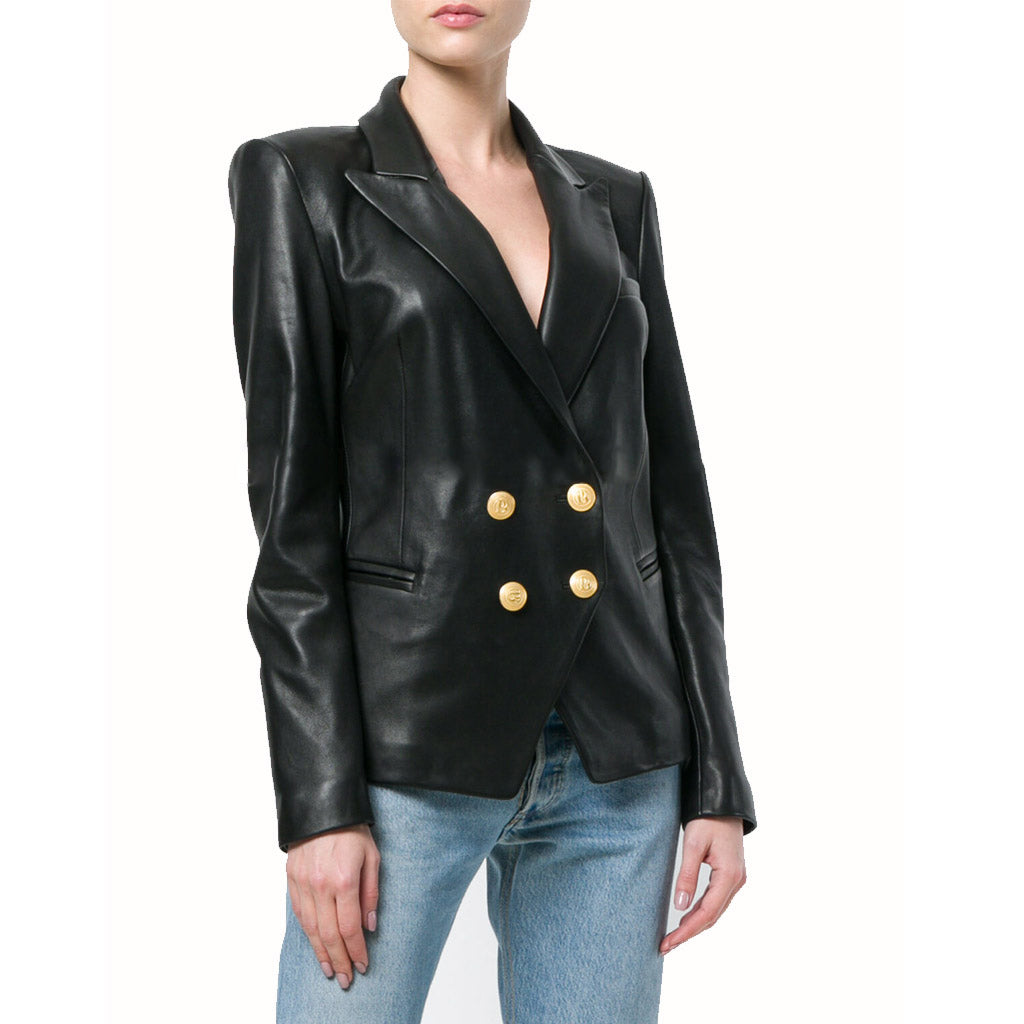 Koza Leathers Women's Real Lambskin Leather Double Breasted Blazer BW093