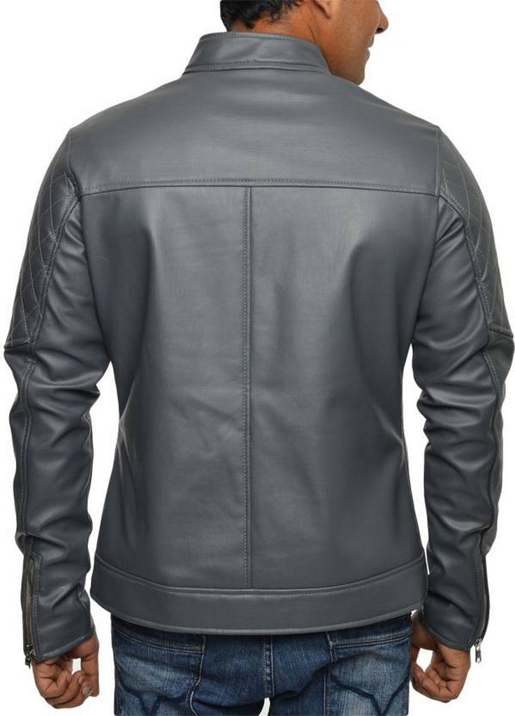 Biker Jacket - Men Real Lambskin Motorcycle Leather Biker Jacket KM554 - Koza Leathers
