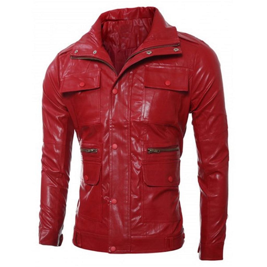 Biker Jacket - Men Real Lambskin Motorcycle Leather Biker Jacket KM561 - Koza Leathers