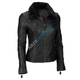 Biker / Motorcycle Jacket - Women Real Lambskin Leather Biker Jacket KW110 - Koza Leathers