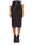 Knee Length Skirt - Women Real Lambskin Leather Slim Fit Skirt WS057 - Koza Leathers