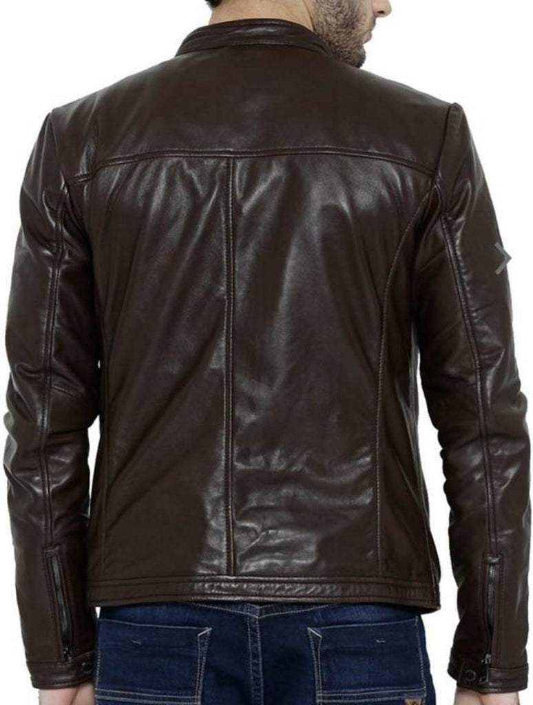 Biker Jacket - Men Real Lambskin Motorcycle Leather Biker Jacket KM394 - Koza Leathers