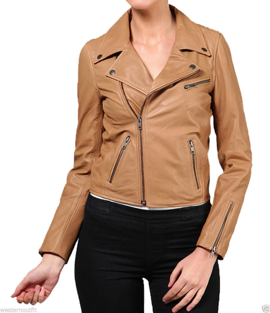 Biker / Motorcycle Jacket - Women Real Lambskin Leather Biker Jacket KW025 - Koza Leathers