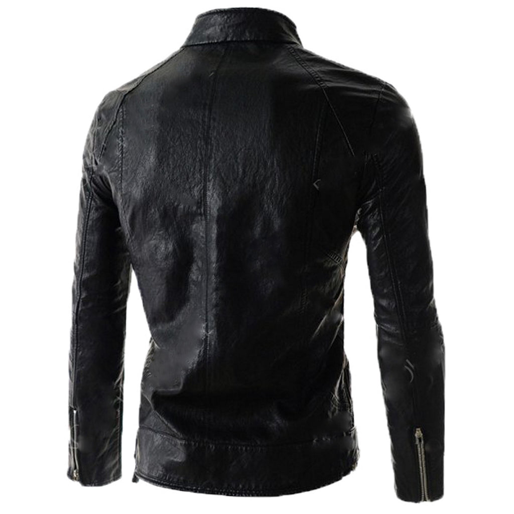 Biker Jacket - Men Real Lambskin Motorcycle Leather Biker Jacket KM569 - Koza Leathers