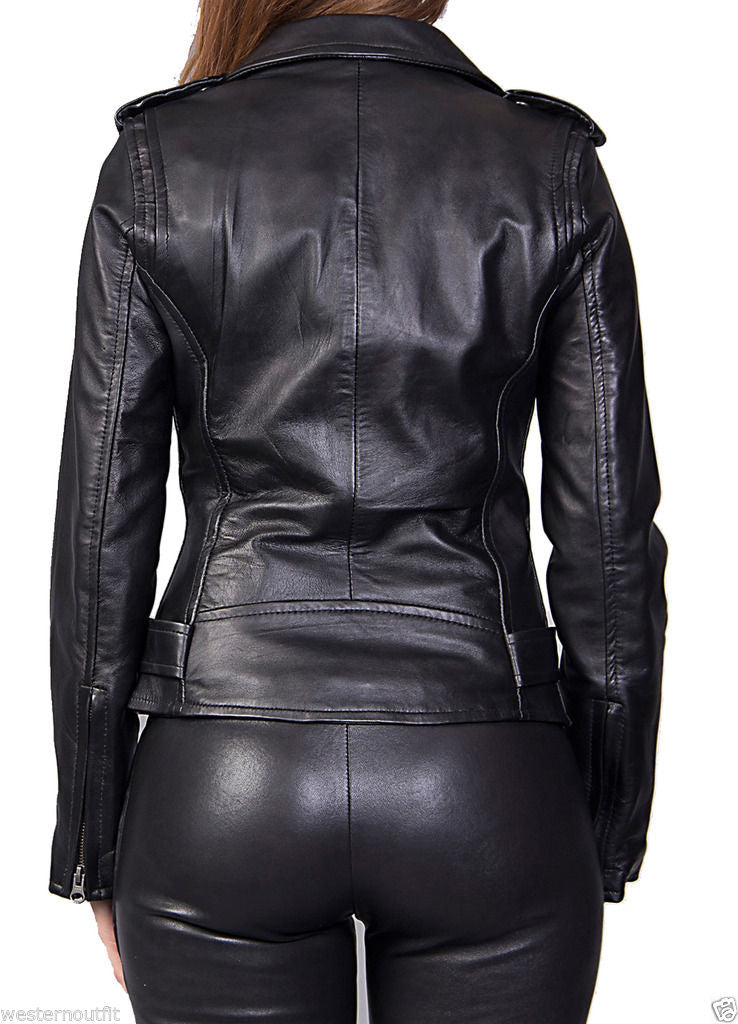Biker / Motorcycle Jacket - Women Real Lambskin Leather Biker Jacket KW026 - Koza Leathers