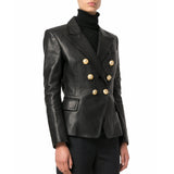 Koza Leathers Women's Real Lambskin Leather Double Breasted Blazer BW094