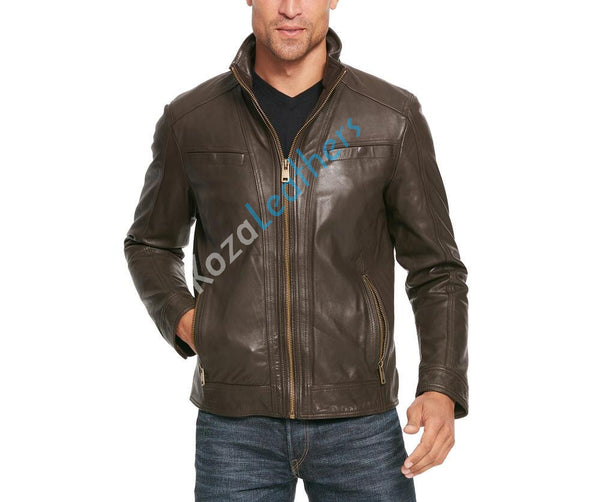 Biker Jacket - Men Real Lambskin Motorcycle Leather Biker Jacket KM160 - Koza Leathers