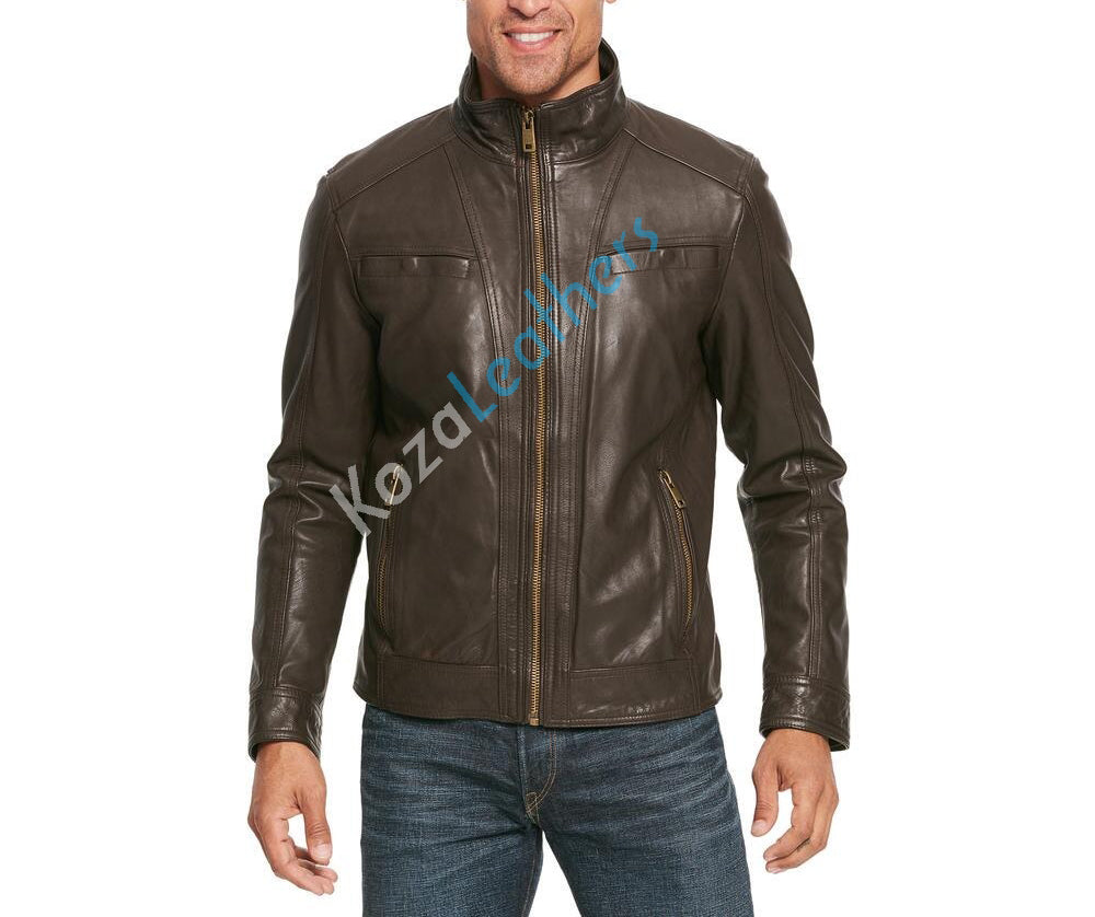Koza Leathers Men's Genuine Lambskin Bomber Leather Jacket NJ013
