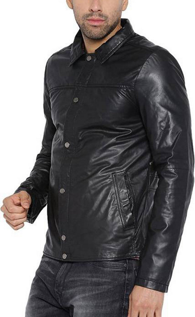 Biker Jacket - Men Real Lambskin Motorcycle Leather Biker Jacket KM395 - Koza Leathers