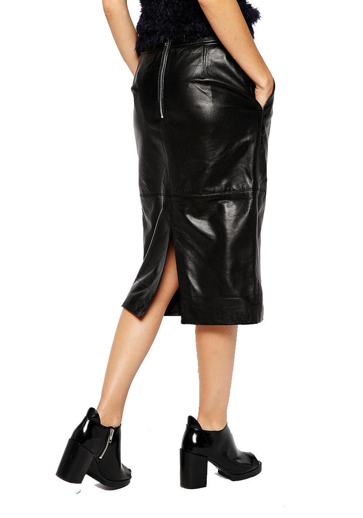 Knee Length Skirt - Women Real Lambskin Leather Slim Fit Skirt WS058 - Koza Leathers