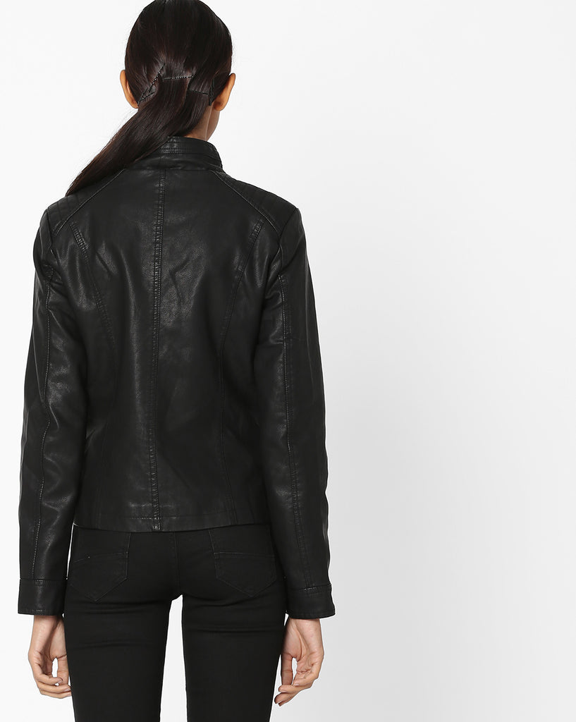 Women Real Lambskin Leather Biker Jacket KW572
