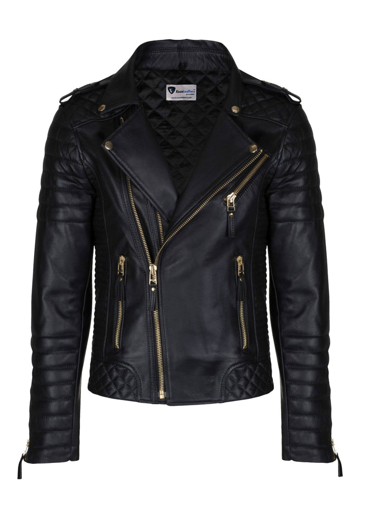 Biker Jacket - Men Real Lambskin Leather Jacket KM026 - Koza Leathers