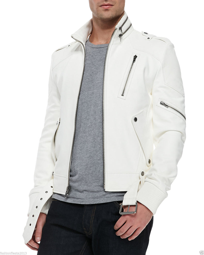 Biker Jacket - Men Real Lambskin Leather Jacket KM059 - Koza Leathers
