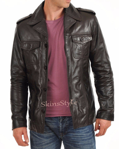 Biker Jacket - Men Real Lambskin Leather Jacket KM037 - Koza Leathers