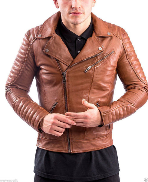 Biker Jacket - Men Real Lambskin Leather Jacket KM062 - Koza Leathers