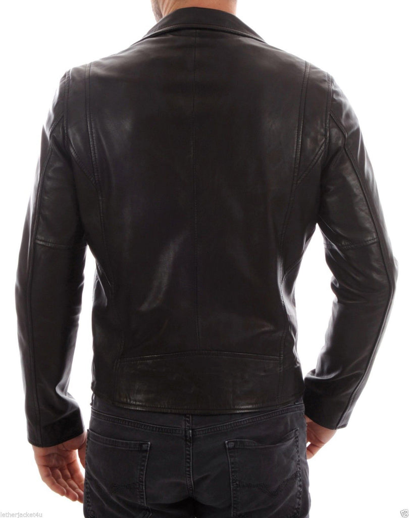 Biker Jacket - Men Real Lambskin Leather Jacket KM042 - Koza Leathers