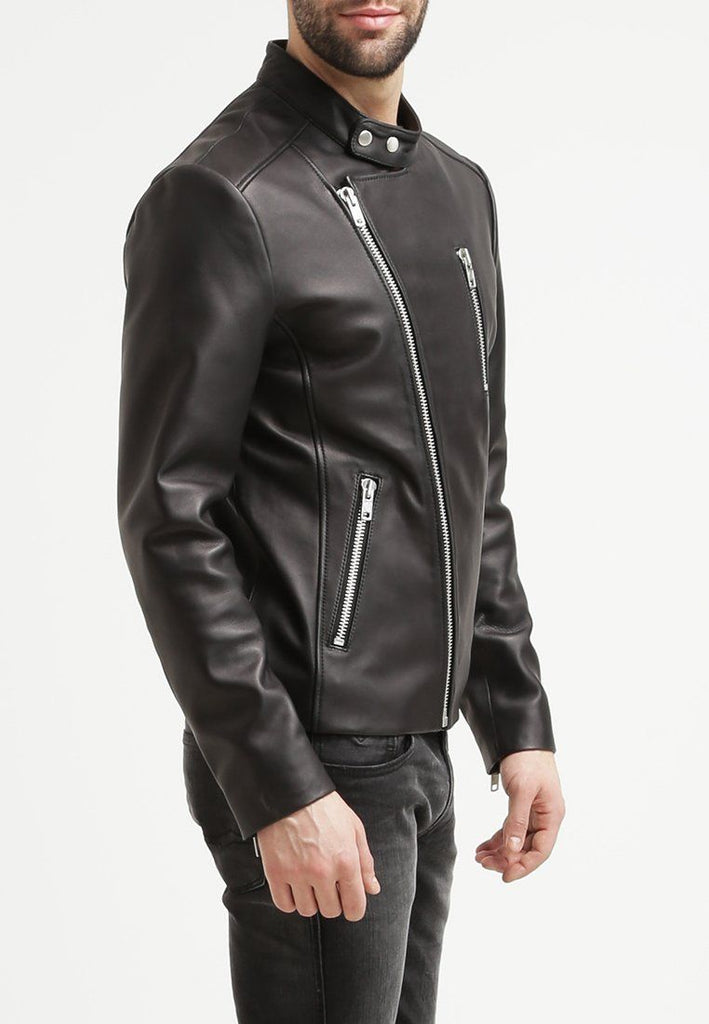 Biker Jacket - Men Real Lambskin Leather Jacket KM066 - Koza Leathers