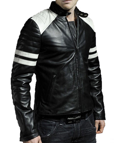 Biker Jacket - Men Real Lambskin Leather Jacket KM039 - Koza Leathers