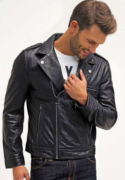 Biker Jacket - Men Real Lambskin Leather Jacket KM068 - Koza Leathers