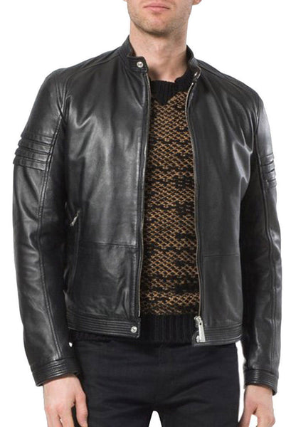 Biker Jacket - Men Real Lambskin Leather Jacket KM070 - Koza Leathers