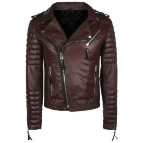 Biker Jacket - Men Real Lambskin Leather Jacket KM044 - Koza Leathers