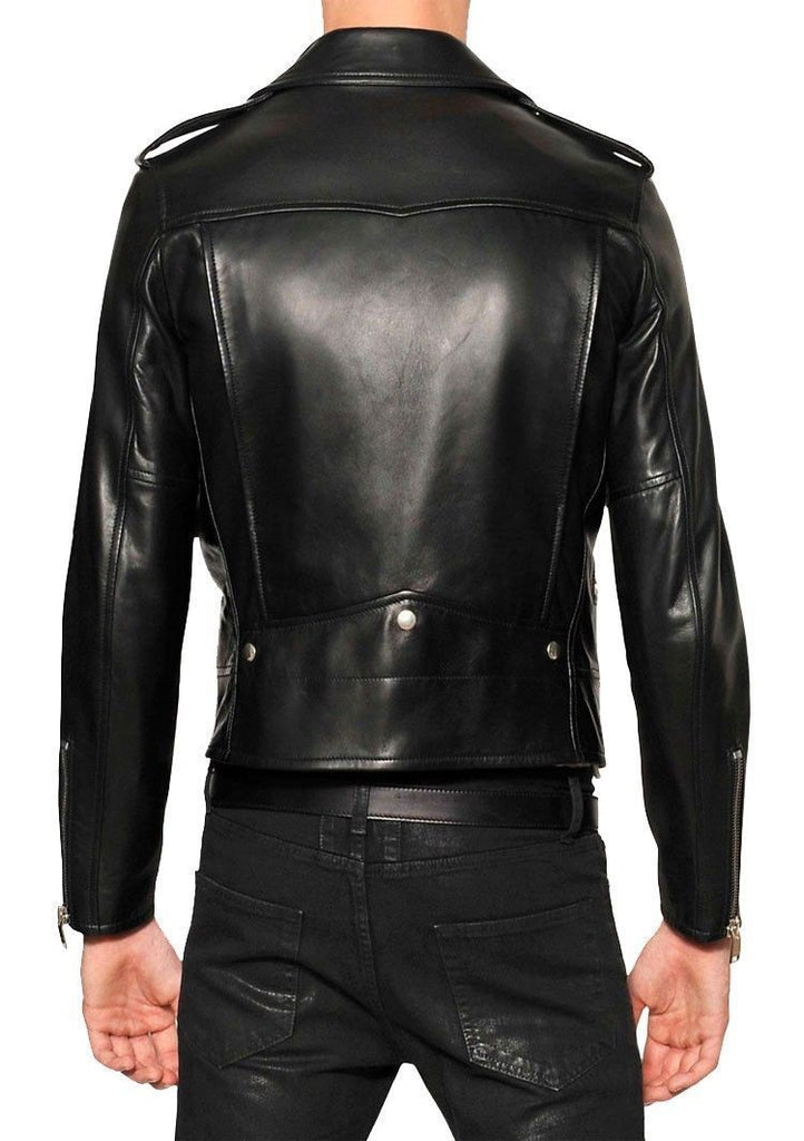 Biker Jacket - Men Real Lambskin Leather Jacket KM076 - Koza Leathers