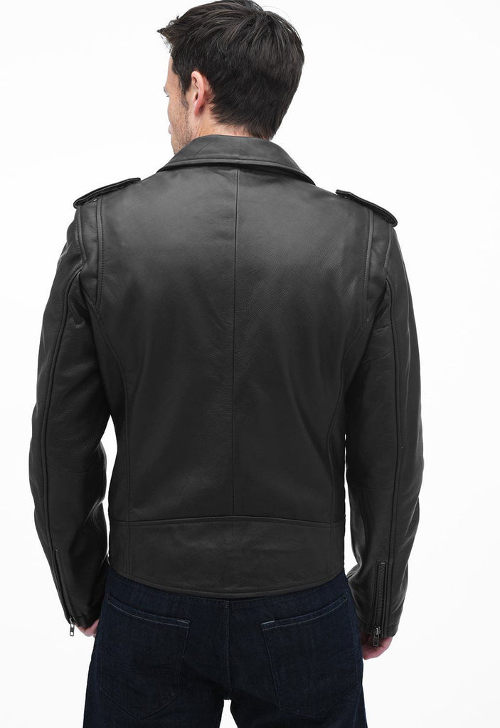Biker Jacket - Men Real Lambskin Leather Jacket KM077 - Koza Leathers