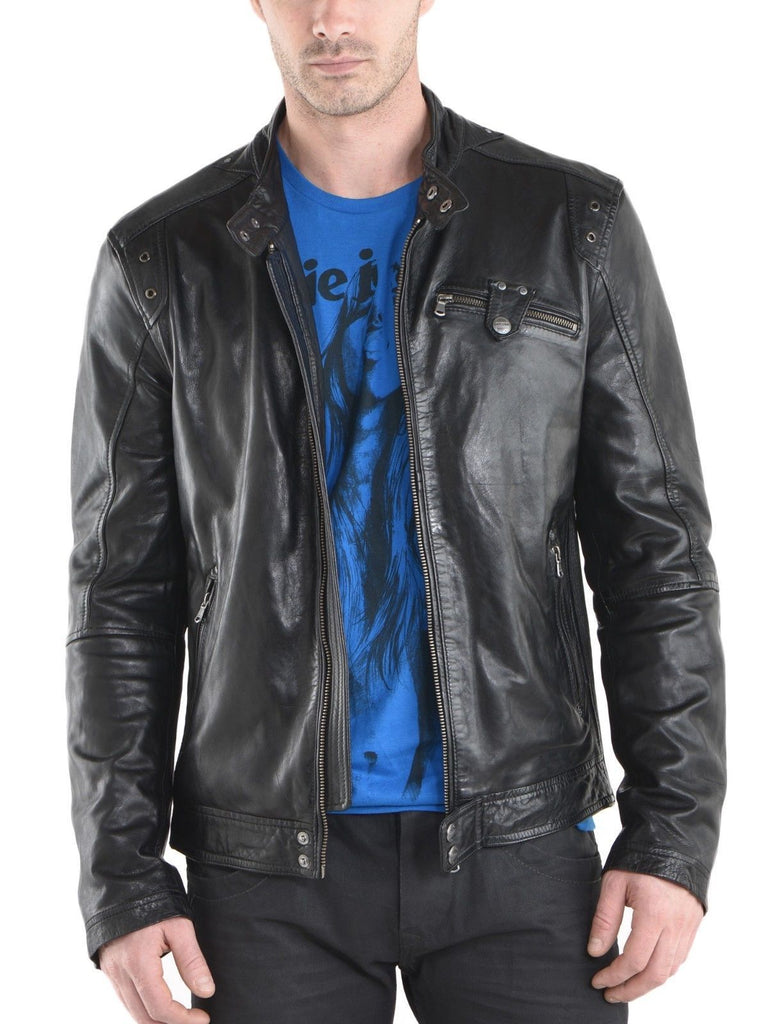 Biker Jacket - Men Real Lambskin Leather Jacket KM078 - Koza Leathers