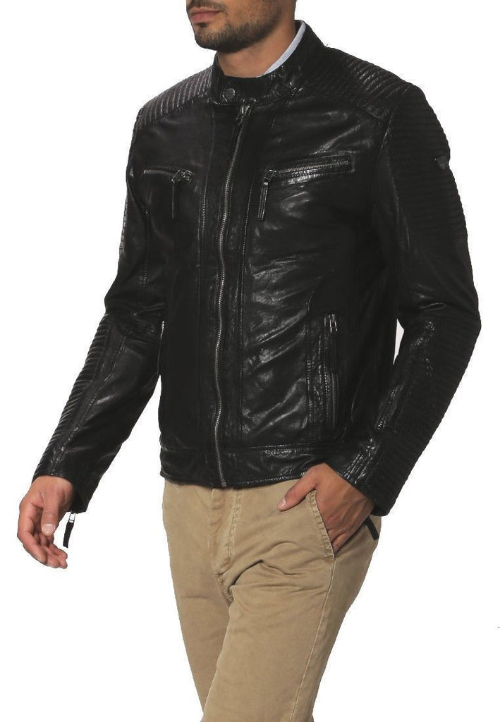 Biker Jacket - Men Real Lambskin Leather Jacket KM079 - Koza Leathers