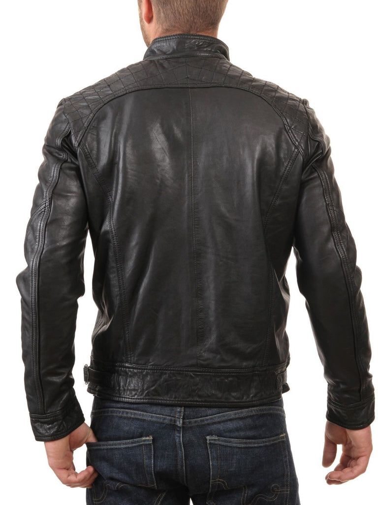 Biker Jacket - Men Real Lambskin Leather Jacket KM080 - Koza Leathers