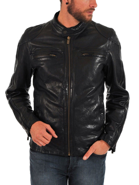 Biker Jacket - Men Real Lambskin Leather Jacket KM081 - Koza Leathers