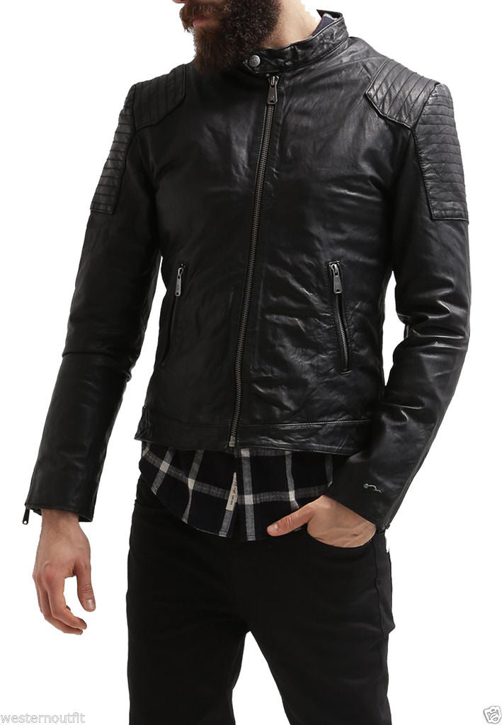 Biker Jacket - Men Real Lambskin Leather Jacket KM047 - Koza Leathers