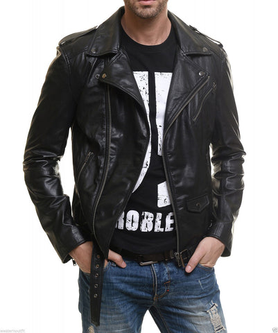 Biker Jacket - Men Real Lambskin Leather Jacket KM048 - Koza Leathers