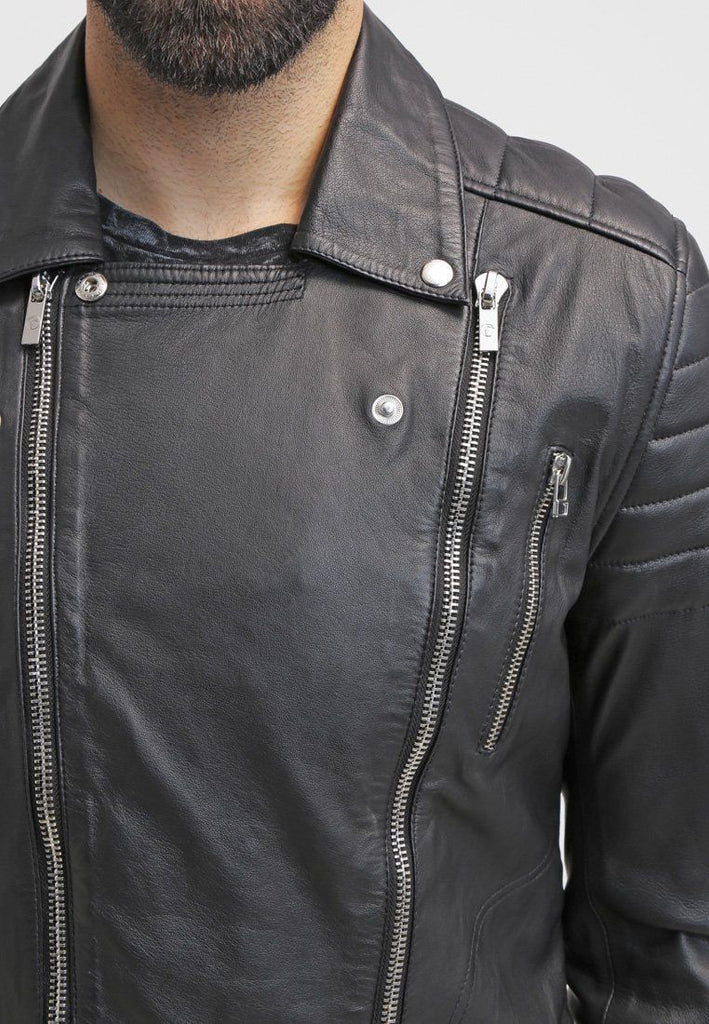 Biker Jacket - Men Real Lambskin Leather Jacket KM084 - Koza Leathers