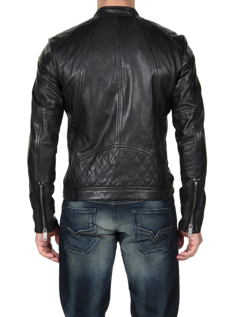 Biker Jacket - Men Real Lambskin Leather Jacket KM086 - Koza Leathers