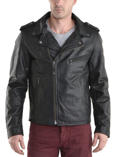 Biker Jacket - Men Real Lambskin Leather Jacket KM088 - Koza Leathers