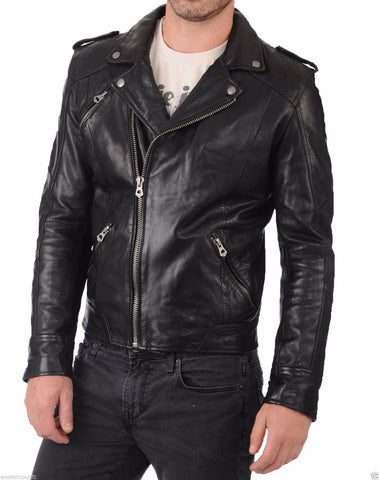 Biker Jacket - Men Real Lambskin Leather Jacket KM049 - Koza Leathers