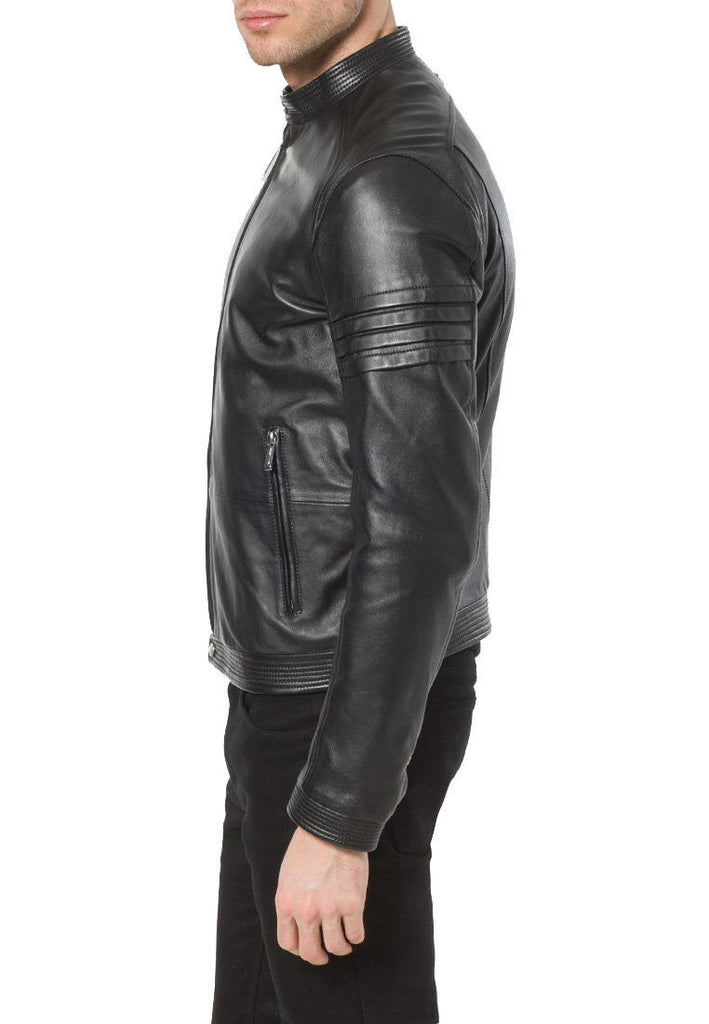 Biker Jacket - Men Real Lambskin Leather Jacket KM094 - Koza Leathers