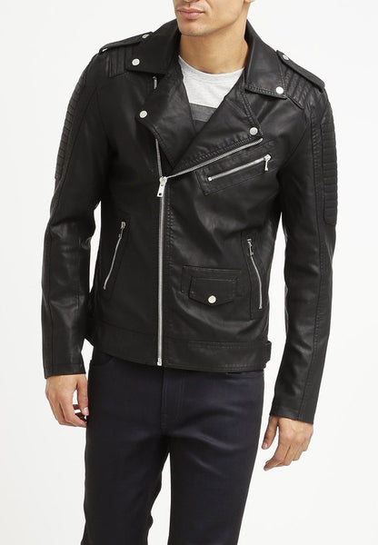 Biker Jacket - Men Real Lambskin Leather Jacket KM095 - Koza Leathers