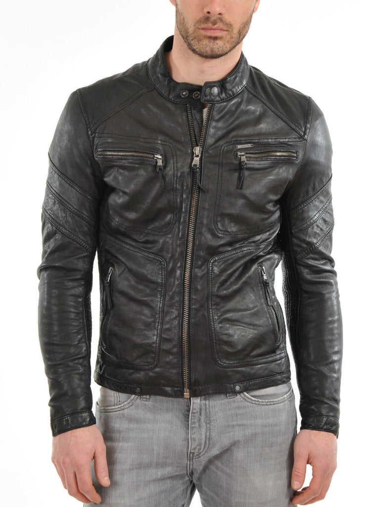 Biker Jacket - Men Real Lambskin Leather Jacket KM096 - Koza Leathers