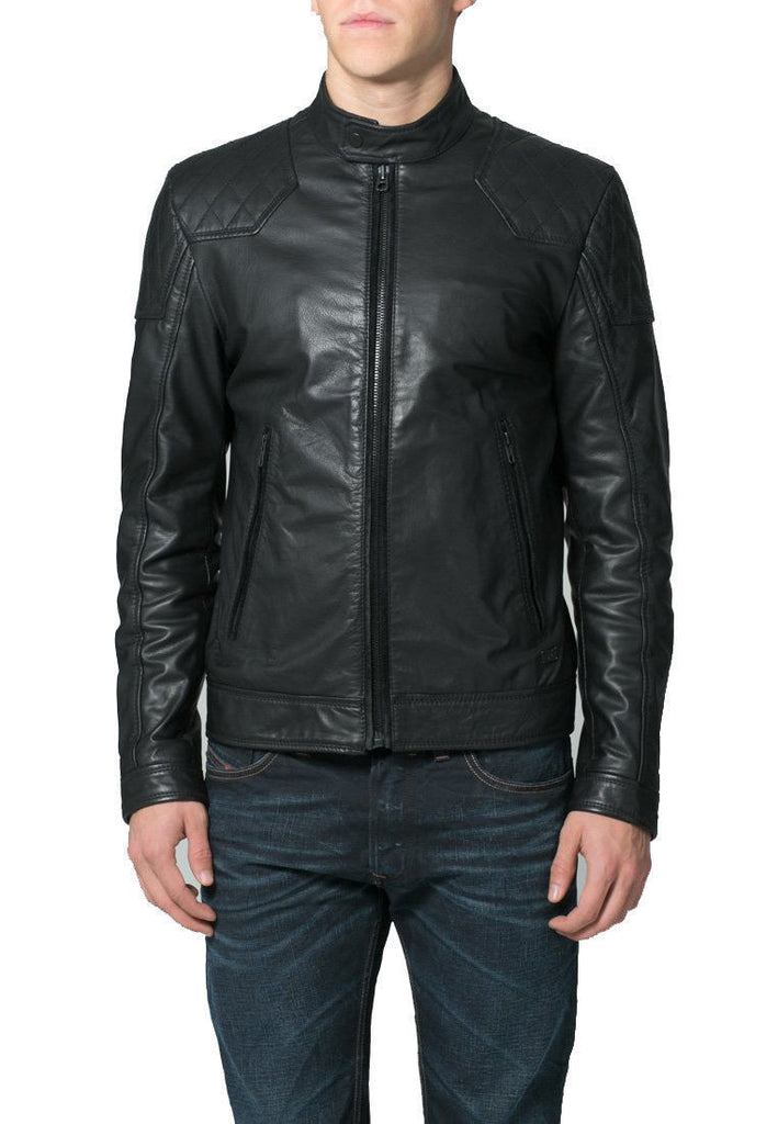 Biker Jacket - Men Real Lambskin Leather Jacket KM098 - Koza Leathers