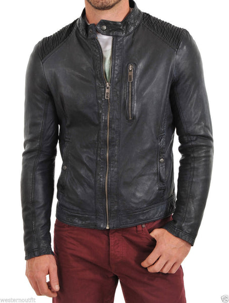 Biker Jacket - Men Real Lambskin Leather Jacket KM100 - Koza Leathers